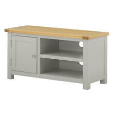 Grey TV Unit Oak Media Stand Cabinet Solid Wood Painted Living Room Furniture