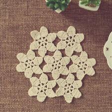 Beige/Ecru Vintage Hand Crochet Lace Doily Small Placemat 8inch Flower Pattern