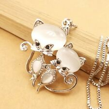 Wholesale Mosaic Crystal Cat Sisters Pendant chain charm necklace XL568