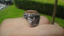 New Genuine Agate Filigree Design Men's Ring  Sterling Silver Size 12 Gorgeous!