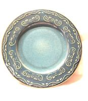 """4 PIER 1 TUNISIA Salad Plate 8.5"""" blue With Embossed Scrolled Pattern"""