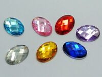 100 Mixed Color Flatback Acrylic Rhinestone Oval Gem Beads 13X18mm No Hole