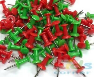 Pack of 100 Red and Green Push Pins Ideal for Cork Board Christmas Decorations
