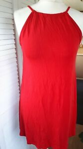 Pretty Little Thing 10 Red Tunic Floaty Tie Neck Top
