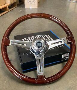 """18"""" Dark Wood Steering Wheel Chrome 3 Spoke For Big Rigs w Horn"""