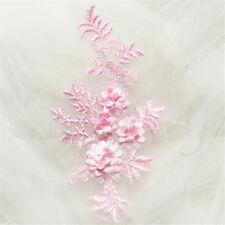 3D Flower Lace Applique Sewing Bridal Wedding Trims Motif Embroidery 21*11.5cm