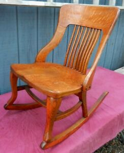 Really Beautiful Antique Highly Figured Oak Child's or Lady's Rocking Chair