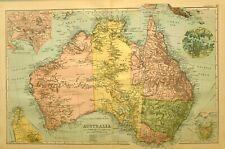 1894 Landkarte Australia Sydney Adelaide Melbourne Tasmanien Victoria Queensland