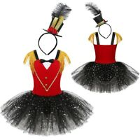 Girls Circus Ringmaster Costume Halloween Child Fancy Dress + Mini Hat Outfit