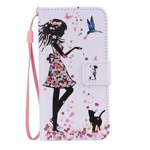 For iPhone 5/6/7/8/x Samsung Magnetic Leather Flip Wallet Pattern Cover Case