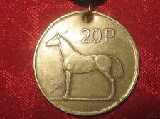 BRONZE GOLD TONE CELTIC IRISH COIN PENDANT HORSE HARP JEWELRY NECKLACE