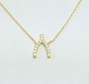 925 Sterling Silver Wishbone Pendant Necklace Gold Plated Crystal Wish Bone