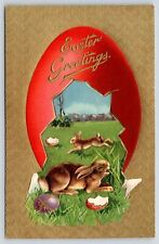 Easter~Red Egg Shell Panorama~Rabbits at Play~Gold Texture Back Embossed~c1908