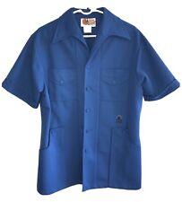 New listing Vintage 1960s 1970s Men's Iolani Blue Executive Hawaiian Shirt Size L