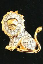 FASHION LAPEL BROOCH - Polished Gold Metal Lion with Swarovki Crystals