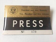 1963 Texas Welcome Dinner Press Badge President John F. Kennedy Assassination
