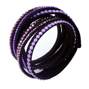 Crystal Closure Rhinestone Slake Deluxe Purple Pink Bracelet Swarovski Element
