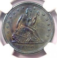 1860-O Seated Liberty Quarter 25C. NGC Uncirculated Detail (UNC MS) - Rare Coin!