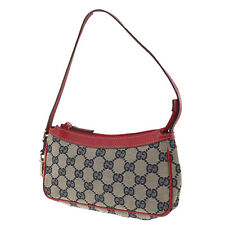 GUCCI Original GG Canvas Hand Pouch Bag Red Navy Italy Authentic #MM489 O