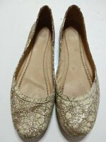 Women's Frye Carson Ballet Flat Metallic Goldish Slip On Leather Shoes Size 12M