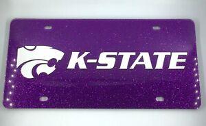 Kansas K-State Wildcats LOGO NCAA / Laser Cut License Plate Tag / Purple Glitter