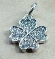 1 CZ Crystal GOOD LUCK Four Leaf Clover Pendant Charm fit European Bead Bracelet