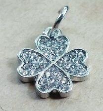 Crystal GOOD LUCK Four Leaf Clover Clear CZ Silver  European Pendant Bead Charm