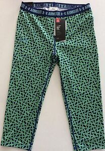 UNDER ARMOUR Girls Blue Green Heat Gear Athletic Capri Leggings YLG NEW Large