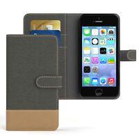 Tasche f. Apple iPhone SE / 5 / 5S Jeans Cover Handy Schutz Hülle Case Anthrazit