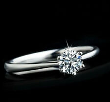 Wholesale Fashion Lady Silver Plated Clear Zircon Wedding Ring 6-10 Jewelry Gift