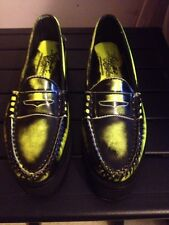 Alejandro Ingelmo Made in Maine Yellow Green  Neon Penny Loafer Shoe Sz 10M NWOB