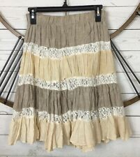 Vintage Adriana Boho Skirt Size Small Linen Tiered Ruffle Floral Lace Earth Tone