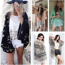 Womens Summer Boho Chiffon Coat Shawl Kimono Cardigan Beach Cover Up Blouse Tops