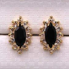 Pretty New 18K Gold Plated Black Topaz Marquis CZ Crystal Stud Earrings
