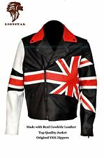 Lionstar Union Jack Stylish Motorbike Motorcycle Real Leather Biker Style Jacket