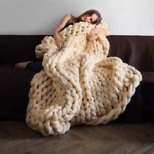 Large Soft Chunky Knitted Thick Blanket Hand Yarn Wool Bulky Throw Sofa Blanket
