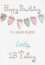Personalised birthday card 16 18 21 40 any age any name daughter grandaughter