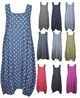 Womens Polka Dot Italian Lagenlook Boho Pocket Tulip Linen Ladies Tunic Dress