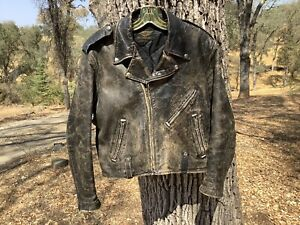 """VTG 1950s-60s HARLEY DAVIDSON """"W-Style"""" Cycle Champ Leather Motorcycle Jacket NR"""