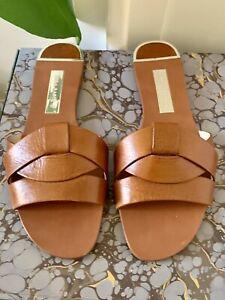 Zara tan leather slide sandals, flat.