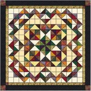 Precut Quilt Kit Falling Leaves with Benartex Bali Batiks Fabric and Print Trim