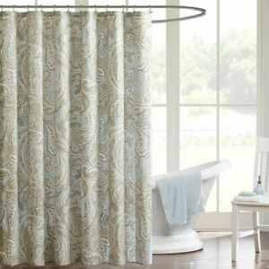 "1 - Posh Soft Blue & Taupe Paisley Print Cotton Shower Curtain - 72"" x 72"""