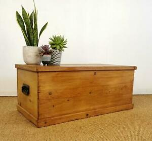 Antique Vintage Pine Blanket Storage Chest Trunk Coffee Table Candle Box