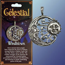 CELESTIAL SUN  CRESCENT MOON Wicca Pagan Witch Pendant  + STORY CARD+CORD