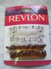 4 Revlon Clear Amber Plastic Rocks Secure Tight Hair Barrettes Clips Pins 2005