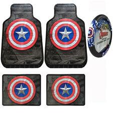 Captain America Civil War Car Truck Front Rear Floor Mats & Steering Wheel Cover