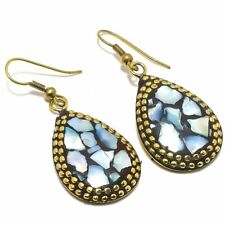 "Mother Of Pearl Gemstone Handmade Ethnic Fashion Jewelry Earring 1.8"" SE7151"