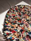 """*RARE* Antique Rag Rug Handmade Handsewn 23x18"""" Quilted 1930s 1940s 1950s 1960s"""