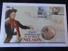2008 SILVER PROOF GIBRALTAR £5 COIN FIRST DAY COVER 250th BIRTH OF NELSON 1/450