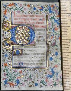 Medieval illuminated miniature BoH leaf in Latin,gold-initials,border&,c.1470